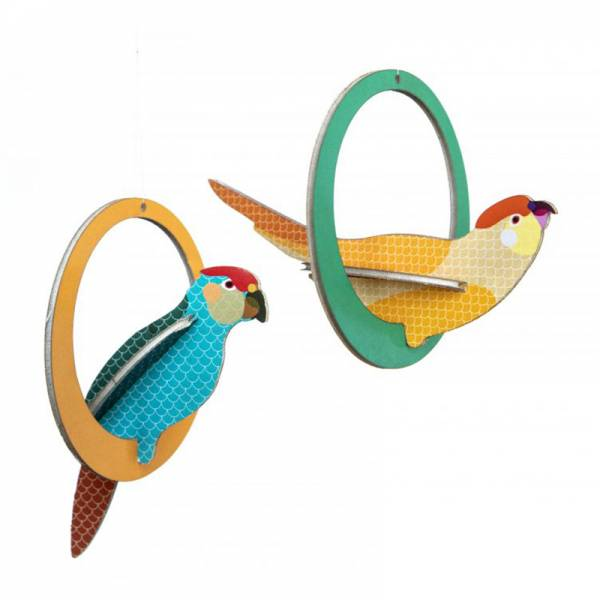 POP OUT CARD SWINGING PARAKEETS
