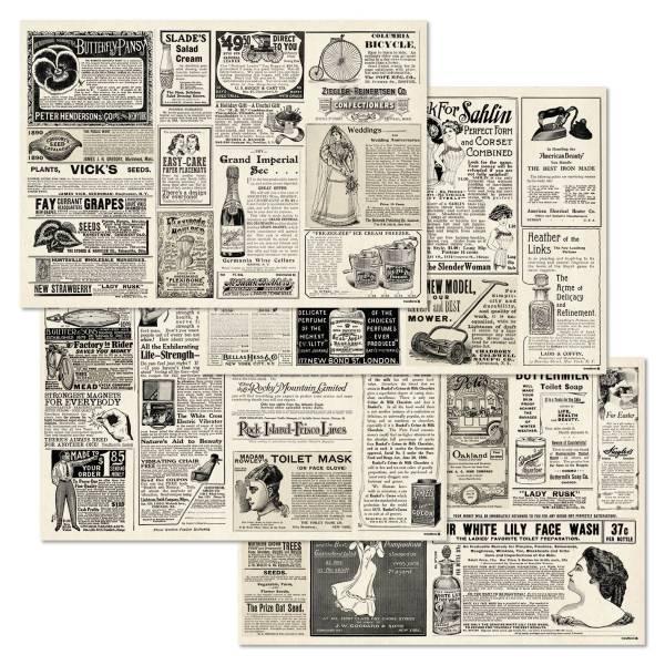 Papiertischset NEWSPAPER 4 Sujets à 12 Blatt