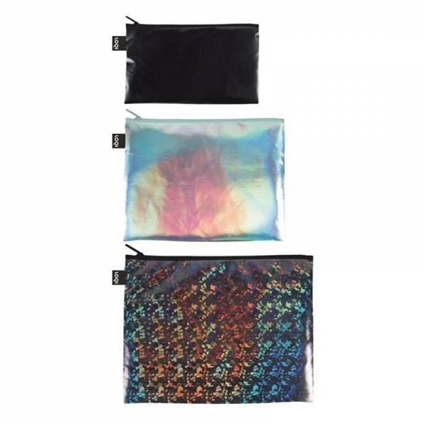 Zip-Beutel METALLIC 3er Set Black, Pearl, Prism