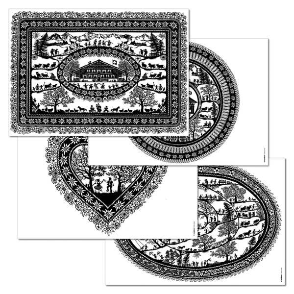 Papiertischset SWISS TRADITION 2 4 Sujets à 12 Blatt
