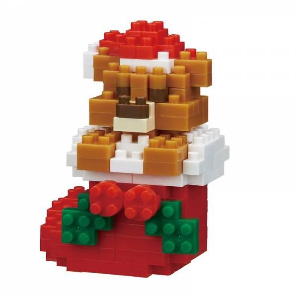 Mini NANOBLOCK Teddy Bear w/Christmas Stocking