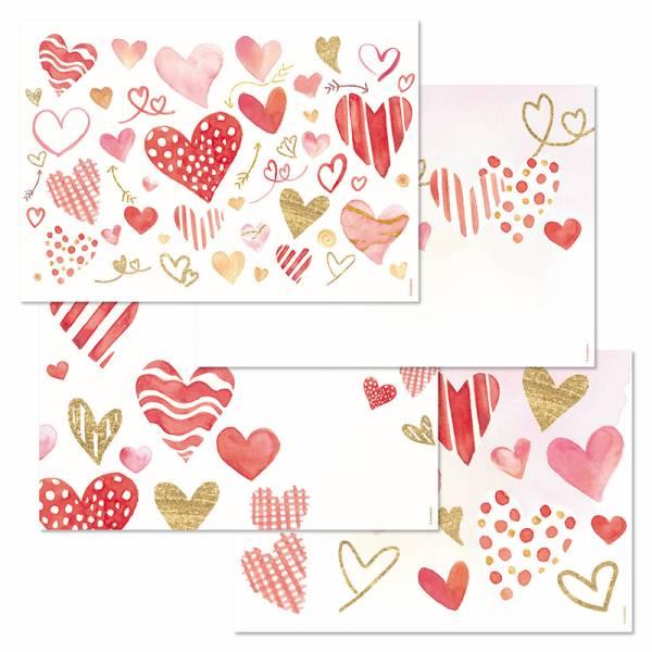 Papiertischset LOVE 4 Sujets à 12 Blatt