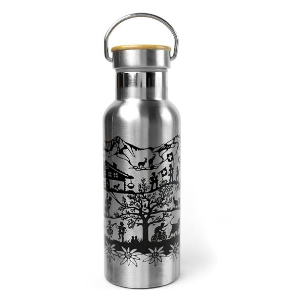 Trinkflasche SWISS TRADITION silber 500 ml