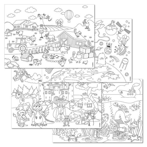Papiertischset KIDS FUN - COLOR ME! 4 Sujets à 12 Blatt