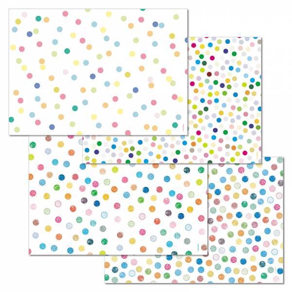 Papiertischset HAPPY DOTS Mehrfachblock - 4 Sujets à 12 Blatt