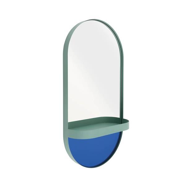 Wandspiegel mit Ablage mint/blau