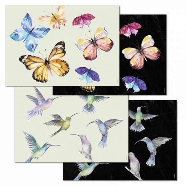 Papiertischset FLY AWAY Mehrfachblock - 4 Sujets à 12 Blatt