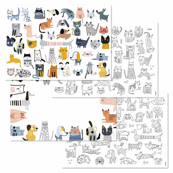 Papiertischset CATS&DOGS 4 Sujets à 12 Blatt