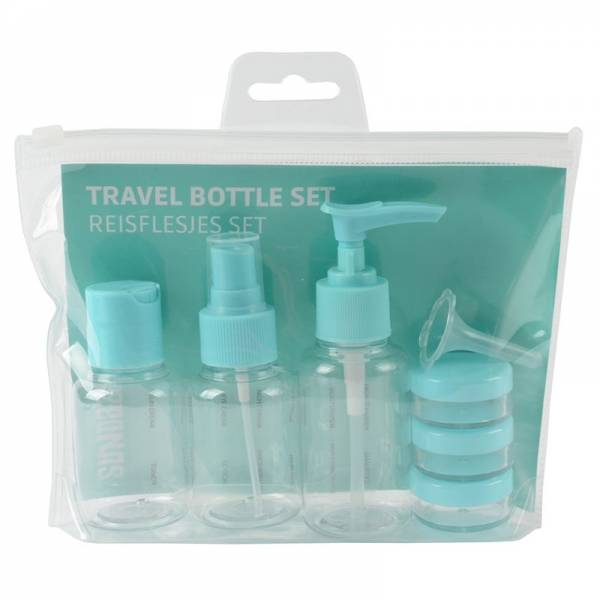 TRAVEL BOTTLE SET blue 8pcs