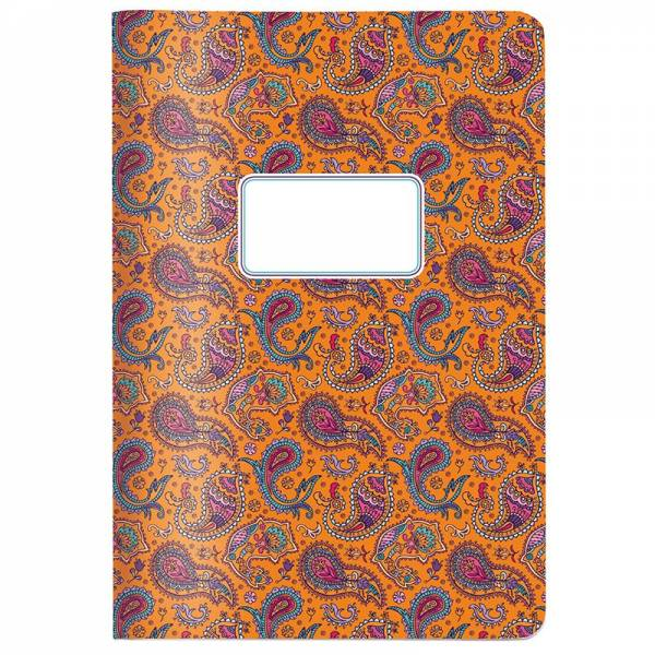 Heft A5 PAISLEY orange, kariert
