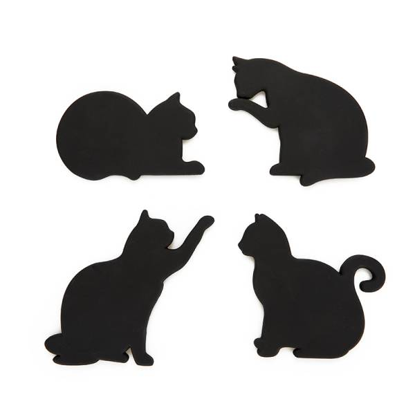 Glas-Untersetzer CAT 4er Set schwarz magnetisch, aus Silikon