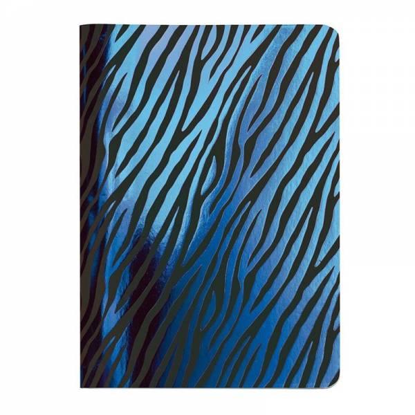 Heft A6 Metallic ZEBRA blau, kariert