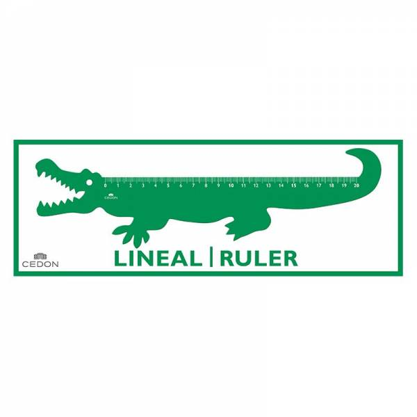 Acryl-Lineal 20 cm KROKODIL grün
