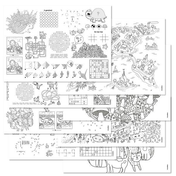 Papiertischset FAMILY FUN 8 Sujets à 6 Blatt - 40 Rätsel und viel Ausmalspass