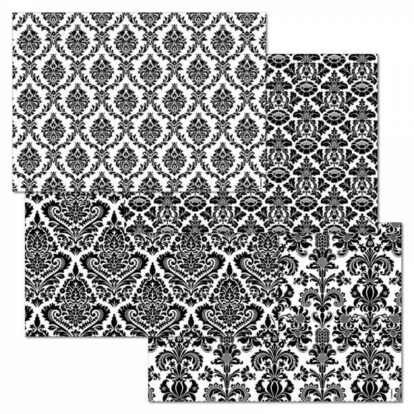 Papiertischset DAMASK 4 Sujets à 12 Blatt