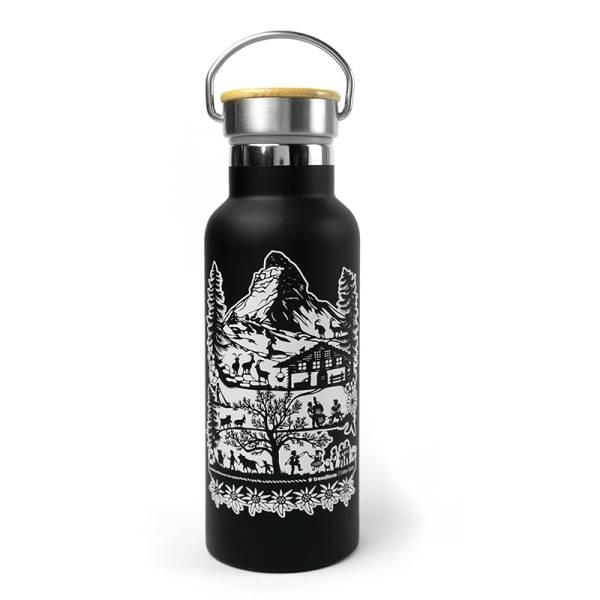 Trinkflasche SWISS TRADITION schwarz 500 ml