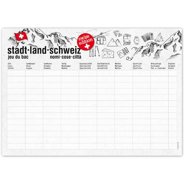 Papiertischset STADT-LAND-SCHWEIZ Block mit 50 Blatt