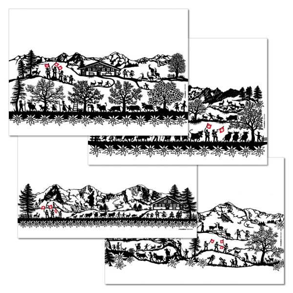 Papiertischset SWISS TRADITION 1 4 Sujets à 12 Blatt
