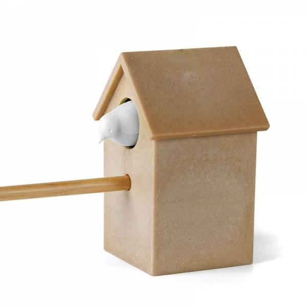 Spitzer CUCKOO weiss mit braunem Häuschen