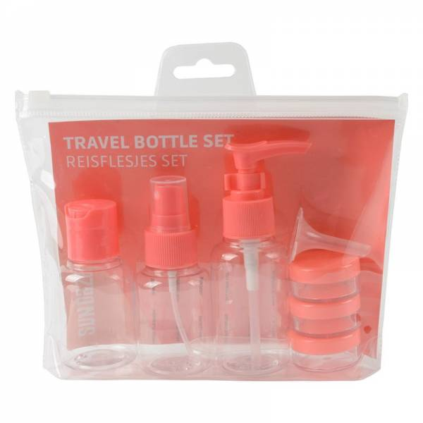 TRAVEL BOTTLE SET pink 8pcs